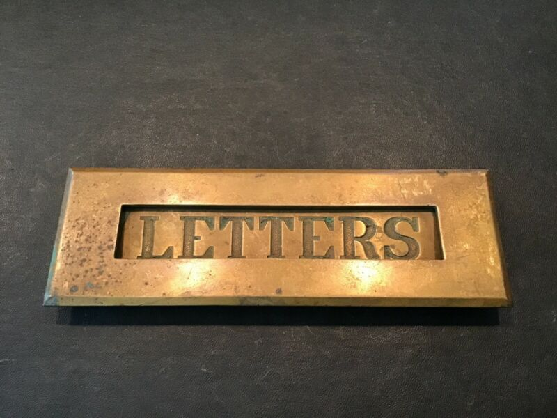 """Vintage Antique Brass Mail Slot Front Cover """"Letters"""" 7 1/8"""" Long Free Ship."""
