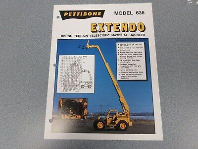 Rare Pettibone 636 Extendo Forklift Sales Sheet