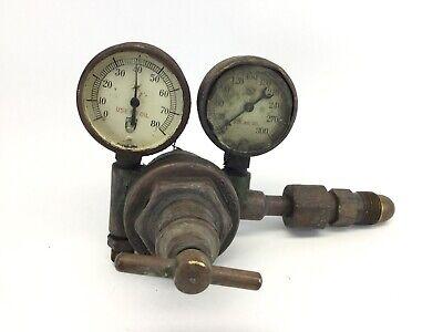 Rare Vintage Rego Brass Pressure Gauges Miller Equipment Co. Cincinnati Ohio