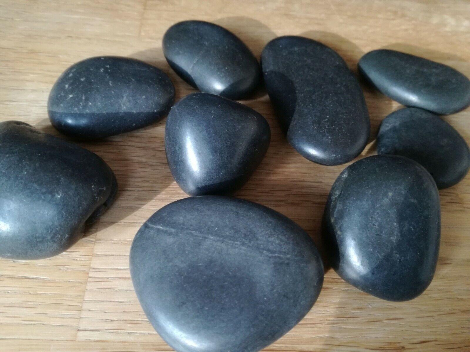 Hot Stone Massage Steine mit Samtbeutel Schwarz Nicht benutzt