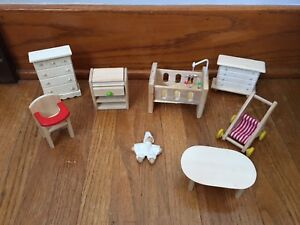 Plan Toys Baby Nursery Set & Wood / Wooden Doll Toy Furniture