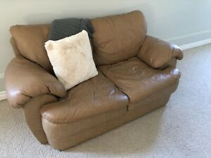 Genuine Leather Brown Sofa Must See