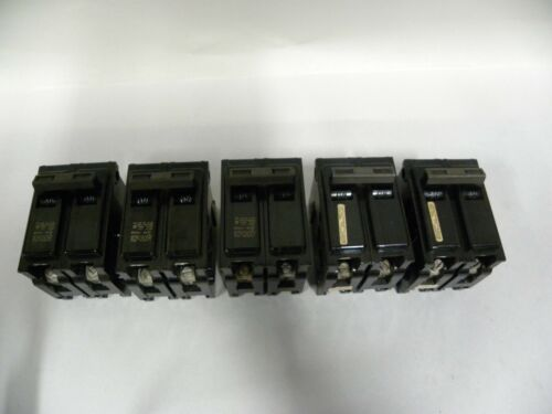 "Lot Of ""5"" ITE Gould Type EQ-P 2-Pole 15 Amp 120/240 VAC Breakers (A5)"