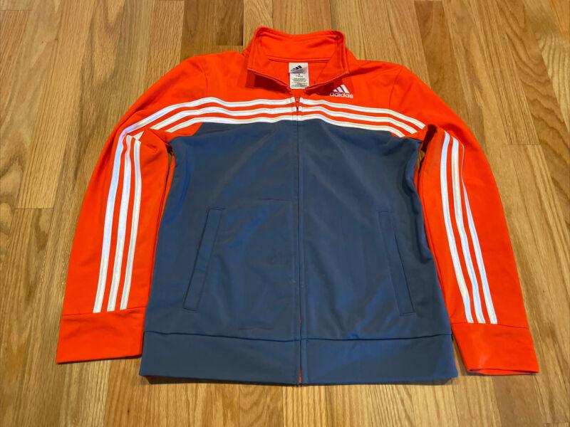 Adidas Youth Size Medium Orange Grey Sports Lightweight Track Jacket