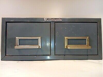 Vintage Steelmaster Metal Index Card Cabinet 2 Drawer File Holder Gray