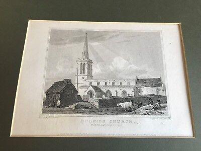 1826 mounted  steel engraving - bulwick church northamptonshire .