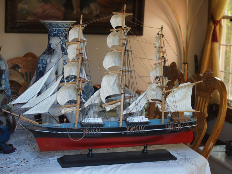 Wooden Model of 19th Century British Clipper Ship the Cutty Sark