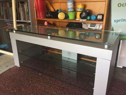TV unit with glass shelves