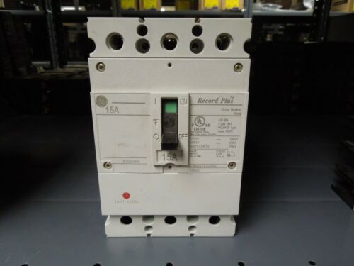 Ge Record Plus Fbn36te015rv 15a 3p 600v Circuit Breaker W/ Panel Connectors Used