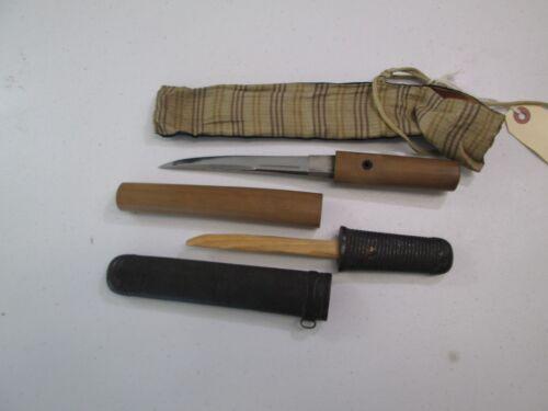 OLD KOTO SAMURAI JAPANESE DAGGER TANTO SWORD KNIFE W SCABBARD CHIKASADA #C14