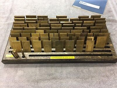 New Hermes Brass Font Condensed Block 35-023 With Birch Wood Holder Complete
