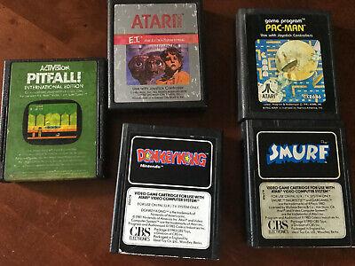 Vintage Atari games x 6 asteroids, pitfall, et, donkey kong, pacman, smurf