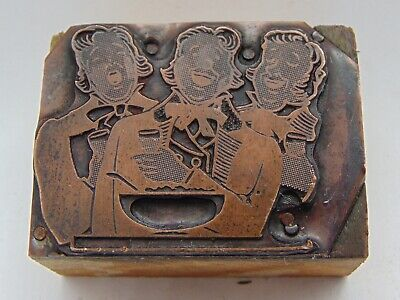 Vintage Printing Letterpress Printers Block 3 Woman Singing Glasses In Hand