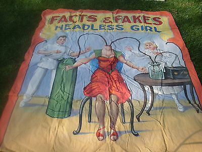 Circus Sideshow Banner Art headless girl woman  carnival freak show vintage