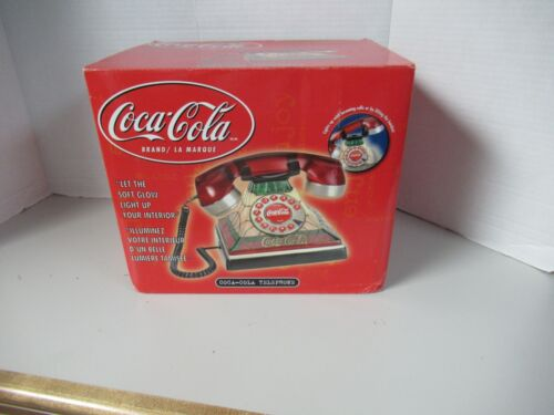 Coca-Cola Stained Glass  Telephone NEW In Box  Lighted Up Phone Push Up Button