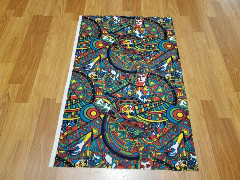 Awesome RARE Vintage Mid Century retro 70s 60s psychedelic rainbow faces fabric