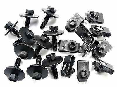 BMW Body Bolts & U-nut Clips- M6-1.0mm x 25mm Long- 10mm Hex- 20 pcs- #146