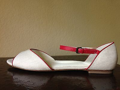 LANDS' END Size: 9 LINEN and LEATHER Flat Sandals NEW Туфли Женские