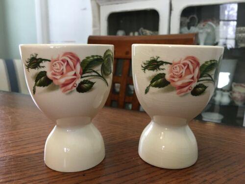 Set of 2 Vintage Double Egg Cup Server Coddler Pink Roses Wedgewood Haviland