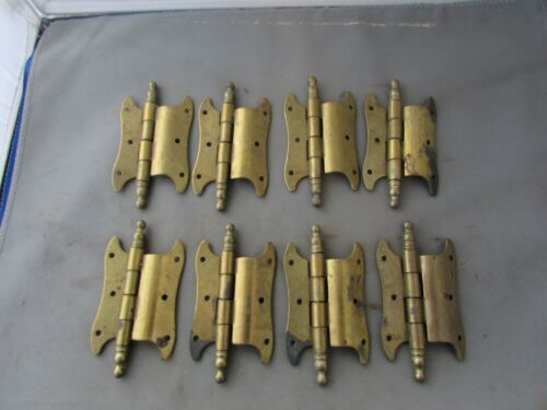 """Lot (8) VTG NOS Offset Hinges Brass Plated 3.5"""" Butterfly Amerock?"""
