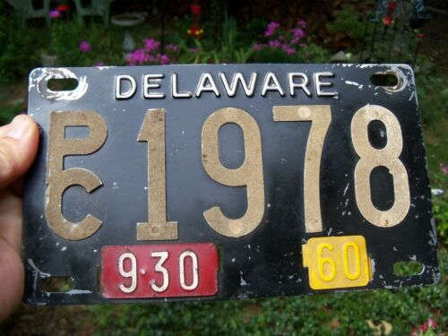 Delaware 1960 Black Stainless License Plate Riveted # PC 1978 (9/30 & 60 Tabs)