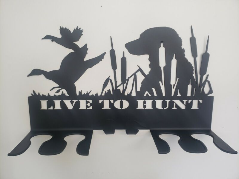 """""""LIVE TO HUNT"""" Double, 2 Boot Wader and 2 Jacket Hanger Wall Mount Rack- **USA"""