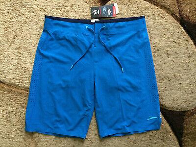 "1e0400a777 Speedo Hydrovent Elite Boardshorts 19"" Gym Swim Mens Size 32 Blue NWT $74.00"