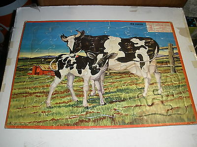 Vintage Milton Bradley inlay tray puzzle from 1959 Cows #4304-X4