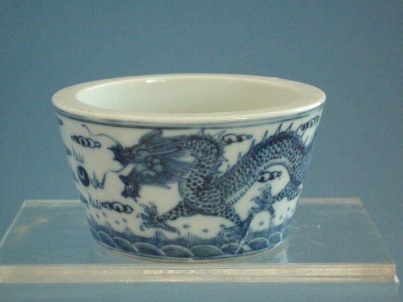 Chinese 19th  Qing Dynasty Blue and White Brush Pot