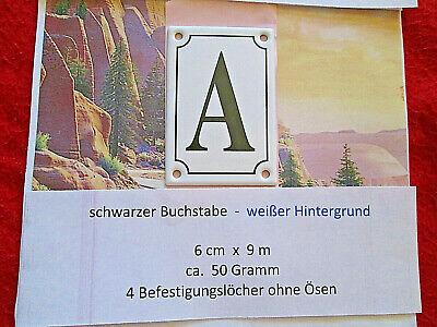 Haus-nr. (A  Emaille Haus Nr. Zusatz schwarzer Buchstabe weißer Hintergrund 6cm x 9cm ANr3)