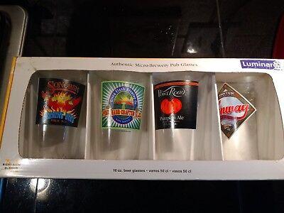 (LUMINARC MICRO-BREWERY PUB GLASSES FOUR 16 OZ GLASSES PUMPKIN ALE, ETC. )