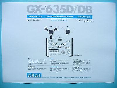 Operator's Manual User Manual for Akai GX-635D/DB