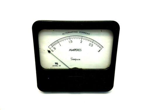 Simpson Model 59 Alternating Current 0.5-3A Amperes Sweep Gauge Ammeter
