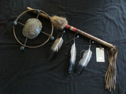 """NATIVE AMERICAN INDIAN """"TURTLE HOOP"""" DANCE WAND CEREMONIAL RATTLE, CO-0621*04528"""
