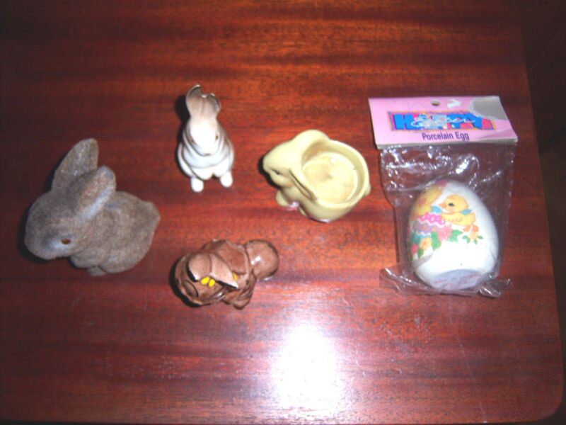 VINTAGE ADORABLE  MISC  LOT 4  BUNNY RABBIT & 1 PORCELAIN EGG  Figurines