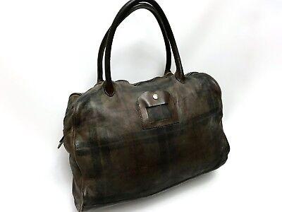Numero 10 Brown Tasche Monzeglio Tartan Leather Hand Made Unisex Bag - RRP 1200$