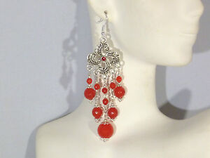 Earrings - Ruby & Swarovski Crystal w/ 925 Sterling Silver  - long chandeliers