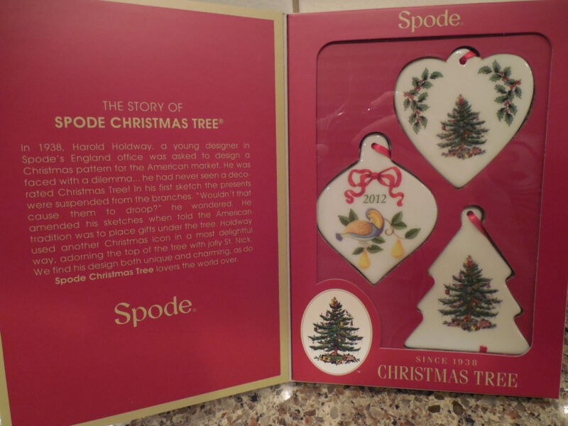 SPODE CHRISTMAS TREE Set of 3 Ornaments NIB