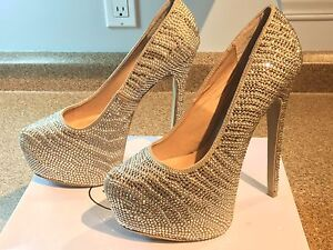 DYVINAL STEEVE MADDEN PUMP SILVER CHRYSTAL + AMERICAN RETRO