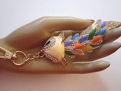 STRASS Schlüsselanhänger Taschenanhänger Emaille Kristall Asia Drache Gold Neu
