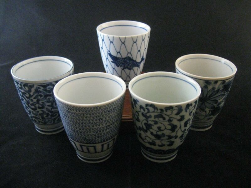 Set of 5 Traditional Hand Crafted Blue Cobalt Tea Cups Made in Japan