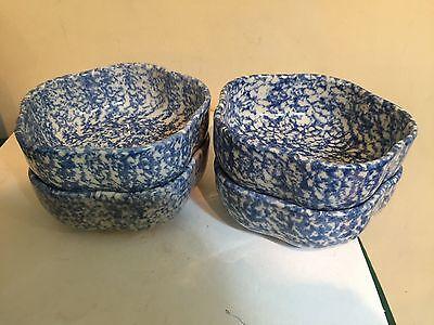 Workshops of Gerald Henn Blue Spongeware Petal Bowls - 4 - MINT