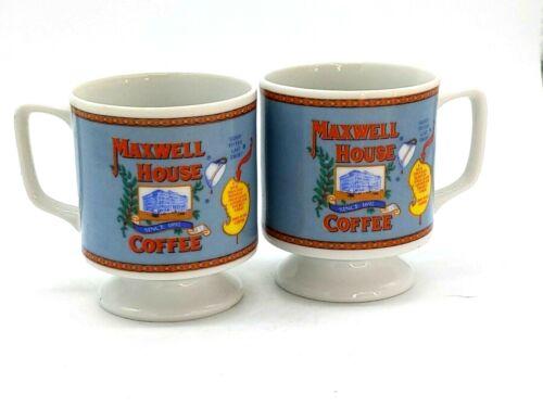 Maxwell House Coffee Mugs Vintage Pedestal Cups General Foods Set of 2
