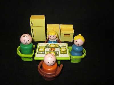 "Fisher Price Little People ""Play Family House Kitchen Set"" #729 Complete Vintage"