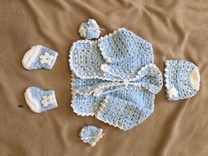Hand knitted for boy or girl  and take baby home kit