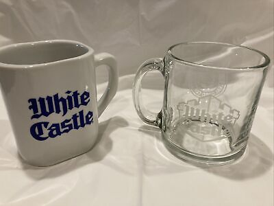 """Pair of Vintage White Castle Mugs And """"By The Sackful"""" Scrapbook And Recipe Book"""