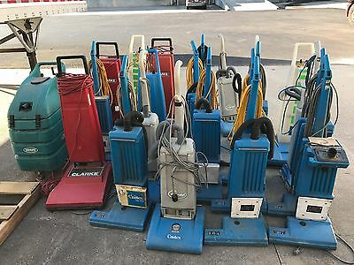 Lot of 21 ELECTRIC COMMERCIAL CARPET  VACUUMS - SOME WIDE AREA FORMAT, FOR PARTS
