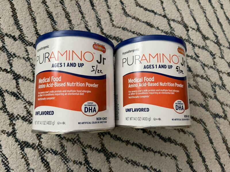 2 cans- 14.1 Ounces Puramino Jr. -Unflavored