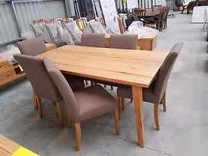 New 7pce Dining set with fabric chairs messmate wood Wangara Wanneroo Area Preview