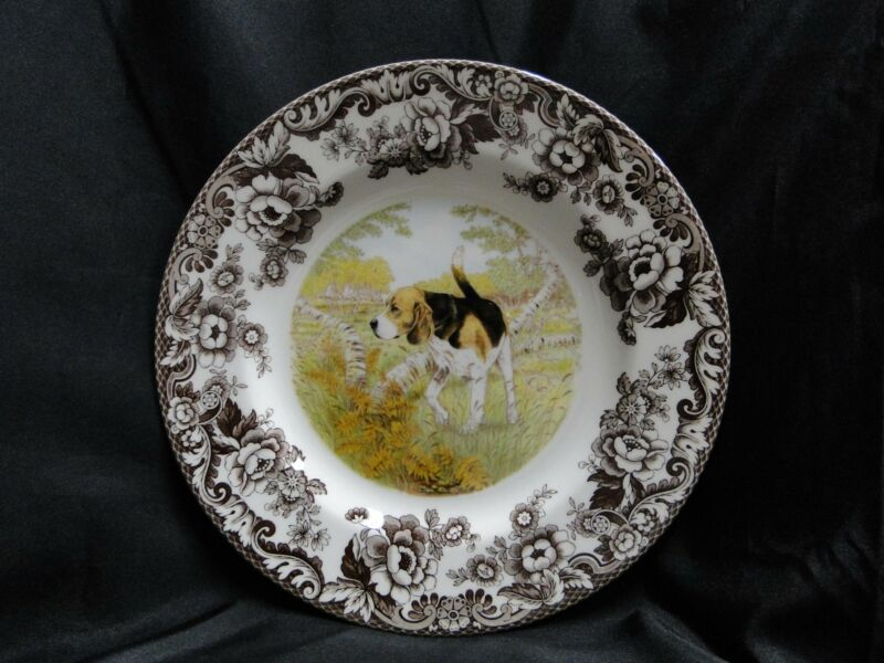 "Spode Woodland Beagle Hunting Dog: Dinner Plate (s), 10 3/4"", Box"